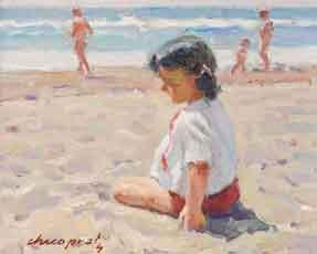 cuadro-chico-prats-nina-en-la-playa