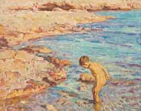 cuadro-chico-prats-nino-en-la-playa
