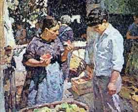 cuadro-chico-prats-payesa-en-el-mercado